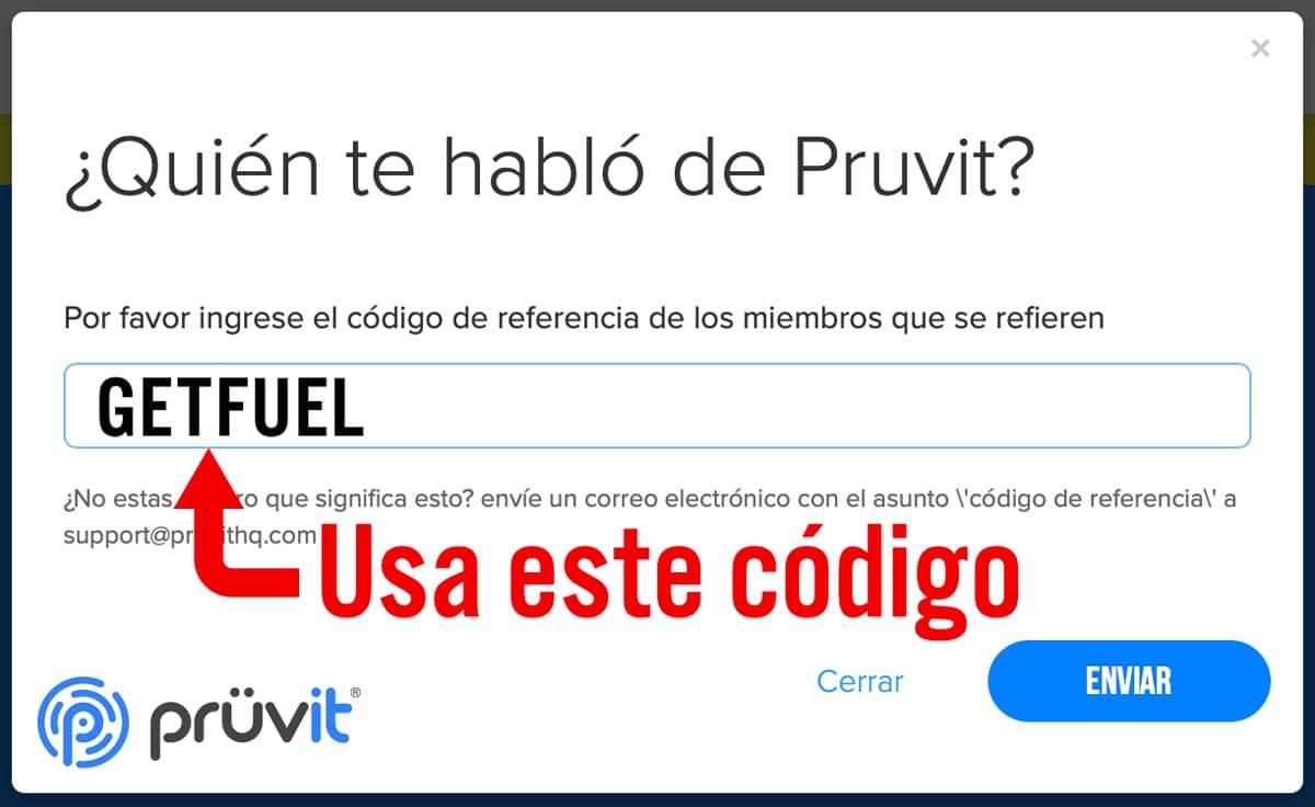 codigo de referencia Pruvit
